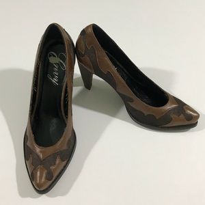 Brown Leather Cowboy Boot Style Heels Women's 8.5